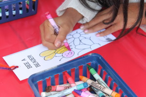 Children colored bookmarks at Family Day in the Park.